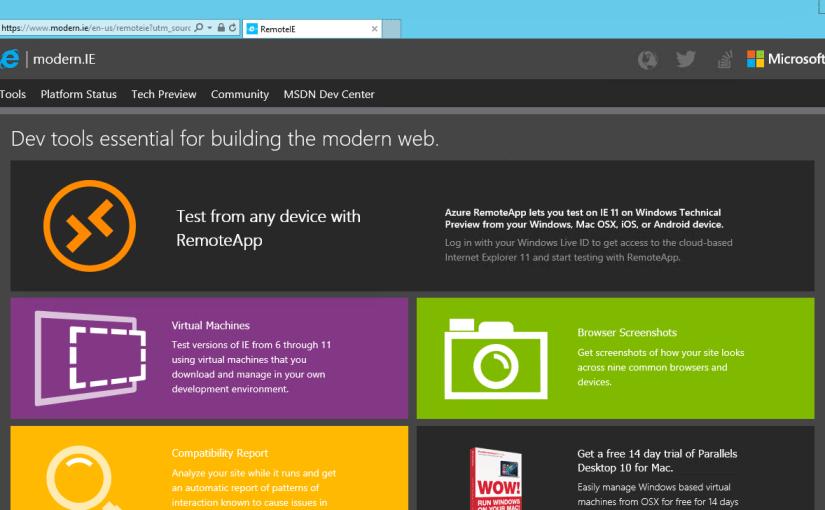 RemoteIE prueba tus sitios en IE sin necesidad de VMs