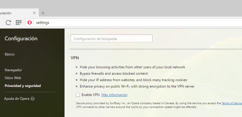 Opera integra una VPN gratuita en su navegador web