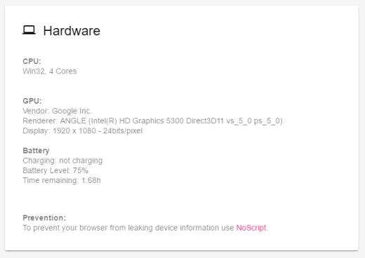 Privacidad, nuestro browser delata nuestro hardware