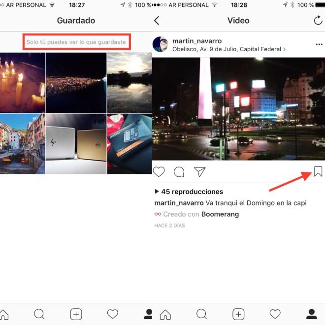 Instagram permite guardar imágenes como favoritas