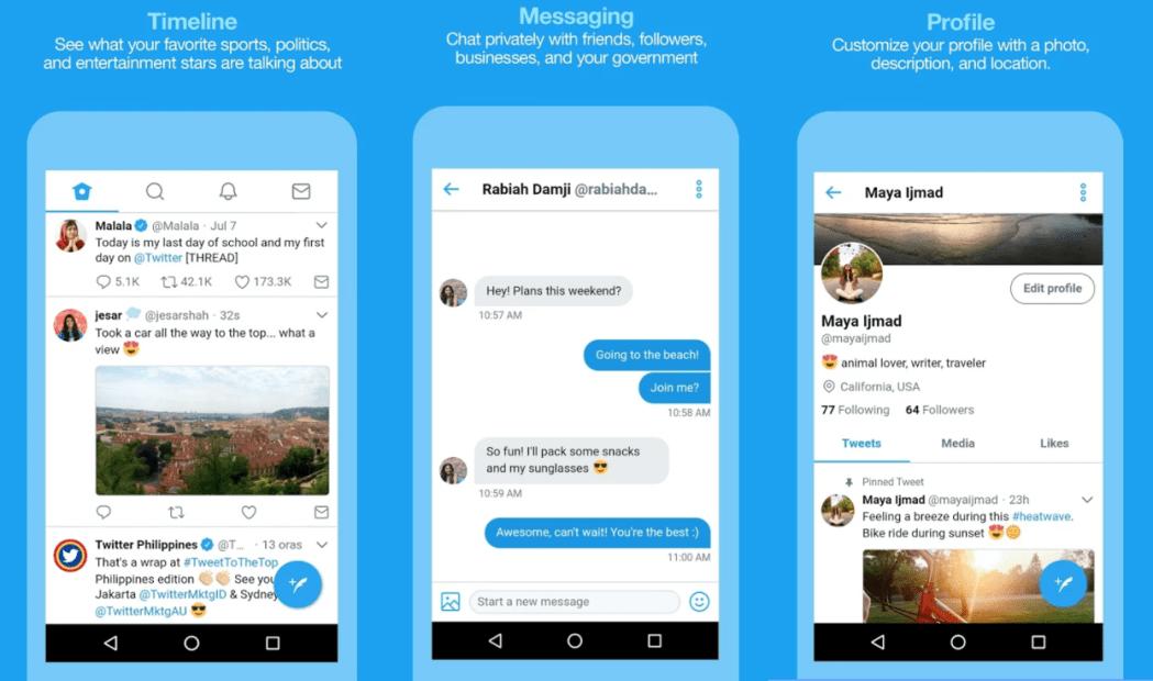 Twitter pone a pruebas una versión lite de su aplicación para smartphone