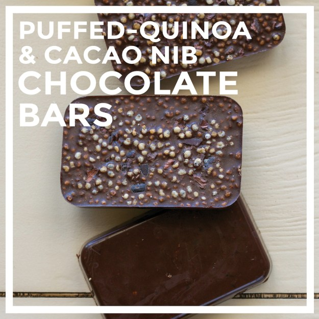 Sugar-free Puffed Quinoa & Cacao Nib Chocolate Bars by Unrefined Vegan