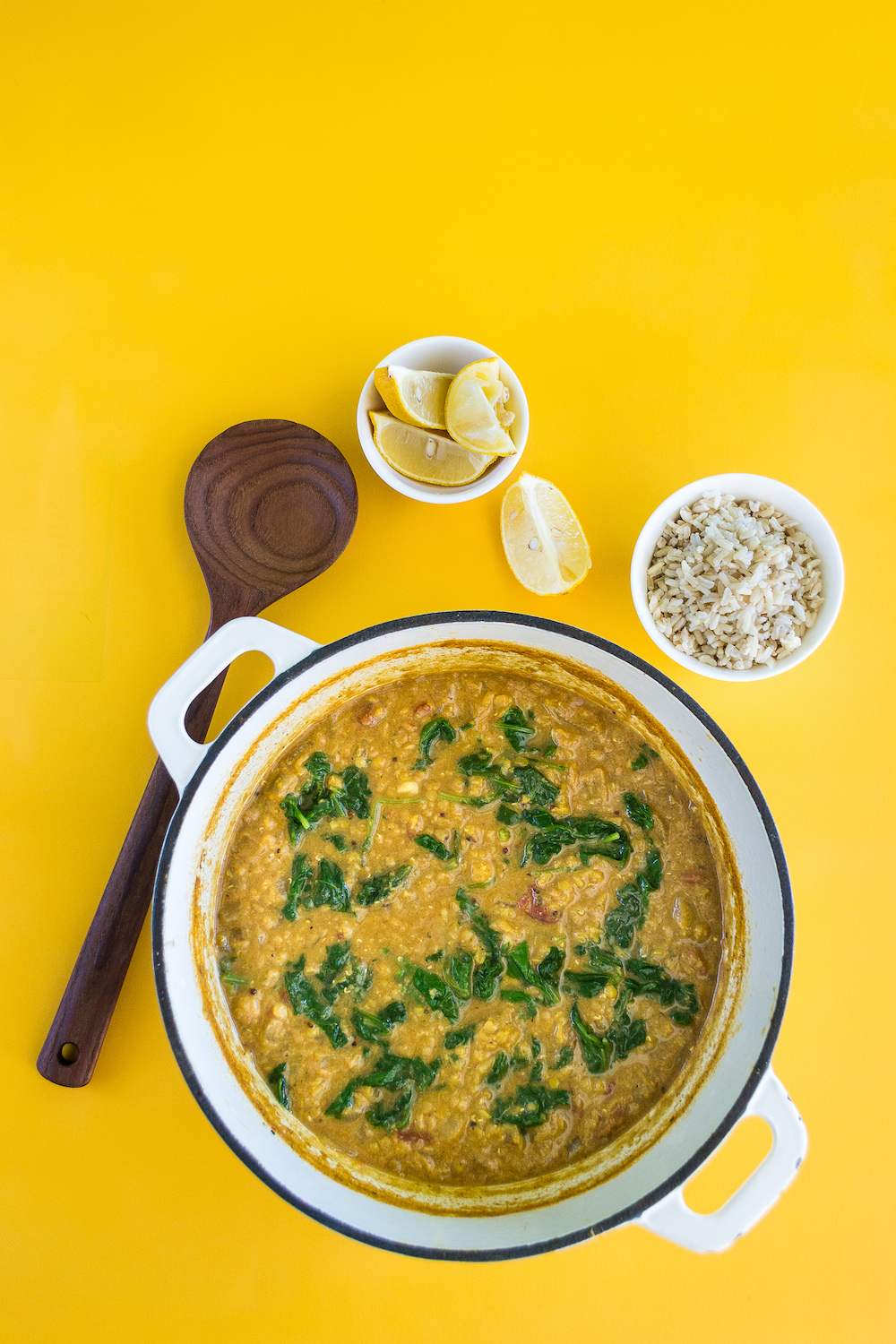Red Lentil Soup with Chickpeas & Spinach. Oil-free.