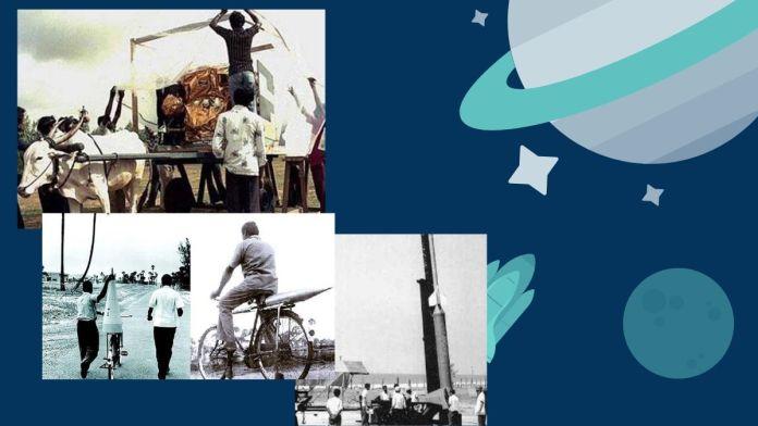 रॉकेट के हिस्सों को इसरो के वैज्ञानिक साइकिल और बैलगाड़ी पर रखकर ले जा रहें हैं।