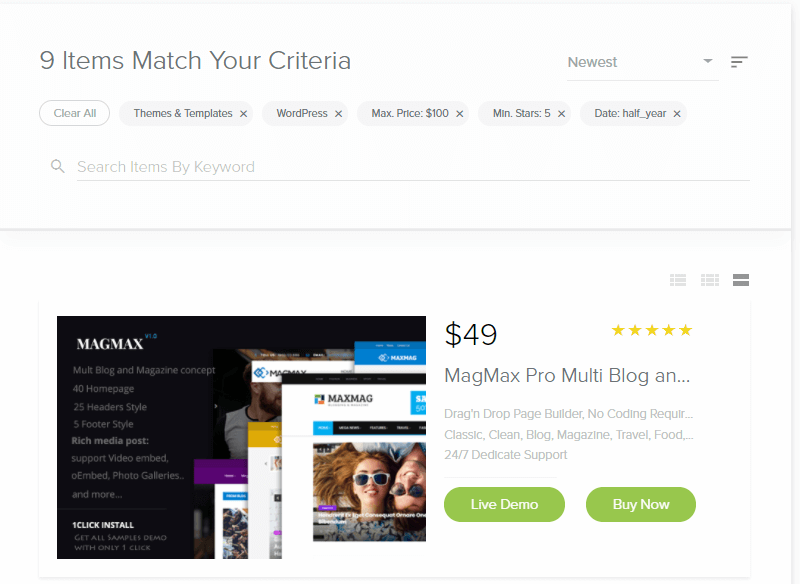 MOJO Marketplace Review Filters