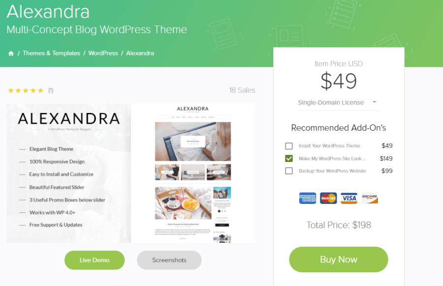 MOJO Marketplace Review Alexandra Theme