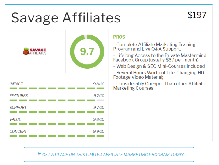 Savage Affiliates Review Features and Benefits