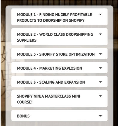 Shopify Ninja Masterclass Course Content