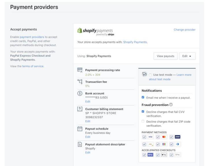 Shopify Payment Setup