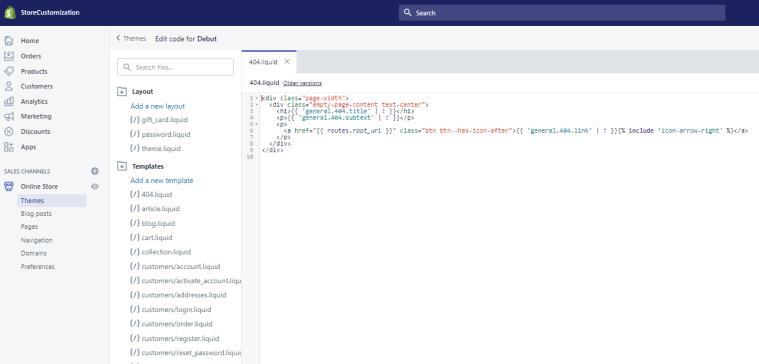 Shopify Editing Code