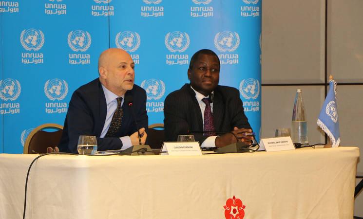 Director of UNRWA Affairs in Lebanon, Mr. Claudio (left) and Director of UNRWA Affairs in Syria, Mr. Amanya Michael-Ebye launch UNRWA 2020 funding requirements. © 2020 UNRWA photo by Maysoun Mustafa