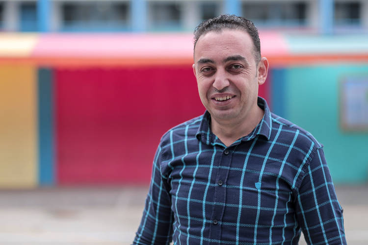 38-year-old Mahmoud Al-Najjar, school counsellor at UNRWA Beach Preparatory Boys School, eastern Gaza city. © 2017 UNRWA Photo by Rushdi Al-Sarraj.