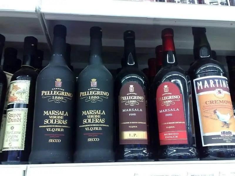 Bouteilles de Marsala, vin typique de Marsala