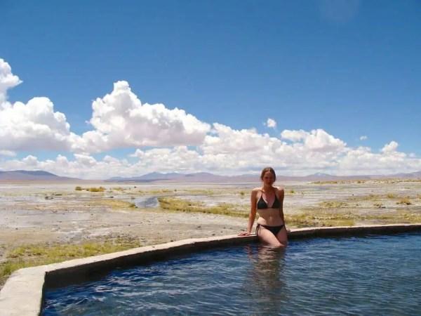 Amandine sources chaudes Aguas Calientes Bolivie