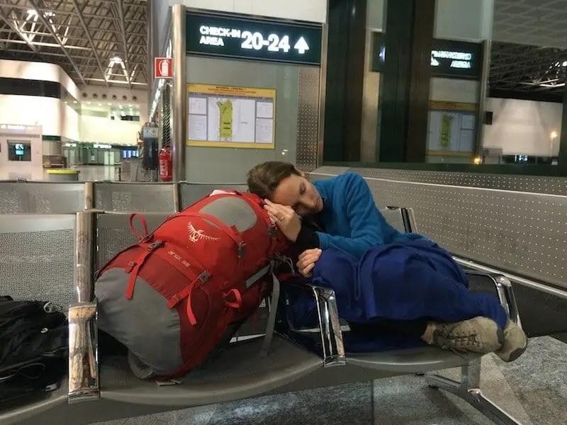 voyageuse, aéroport, sac