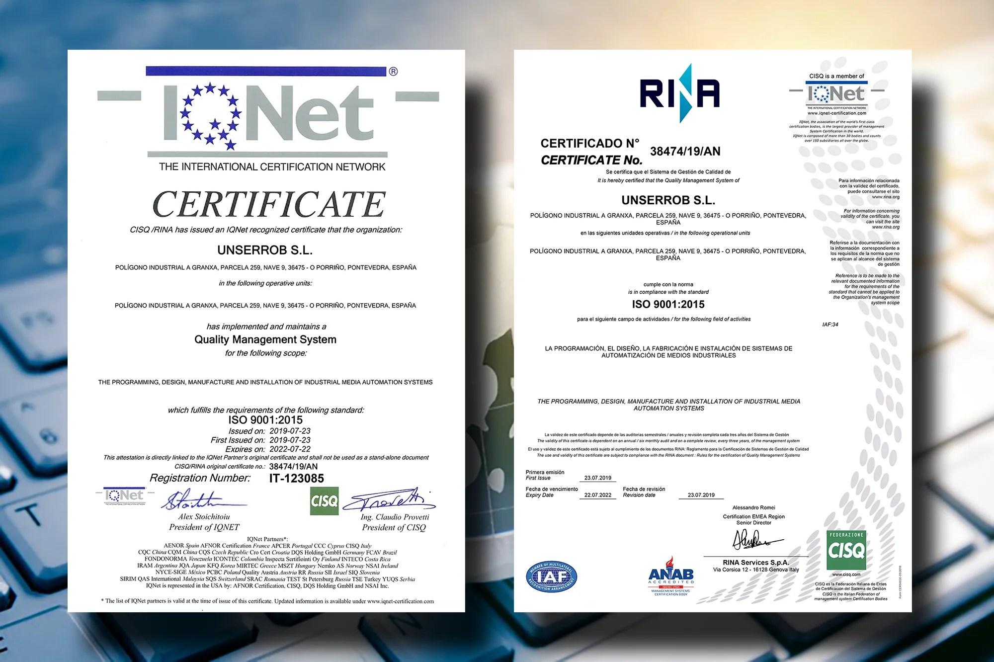 CERTIFICADO ISO9001 UNSERROB