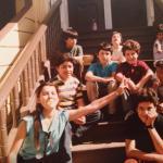 Oscar Salinas with family and friends, Precita Ave. near Shotwell St.