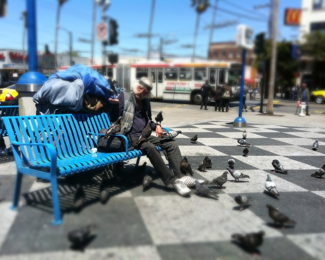 Bird Man at 16th Street BART Plaza