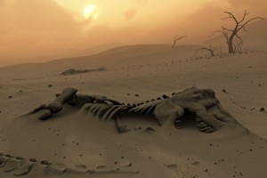 August 20, 2010 --- Dinosaur skeletons in the desert --- Image by © MARK GARLICK/Science Photo Library/Corbis