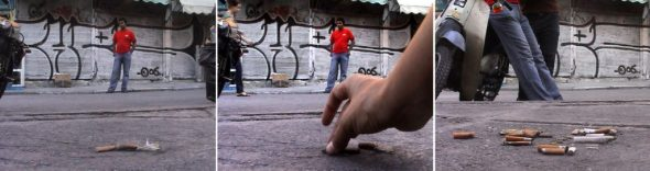 (The City 1: Aikaterini Gegisian The City / Game 1, DV, stereo sound, 2mins, 2007 Video Stills Courtesy the artist & Kalfayan Galleries, Athens-Thessaloniki)