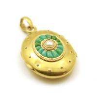 Cassolette - Or, perle et turquoises