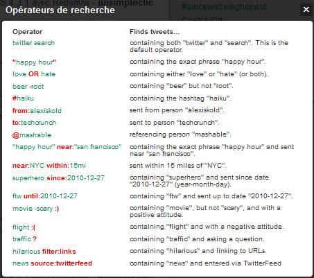 Twitter - Recherche avancée - opérateurs