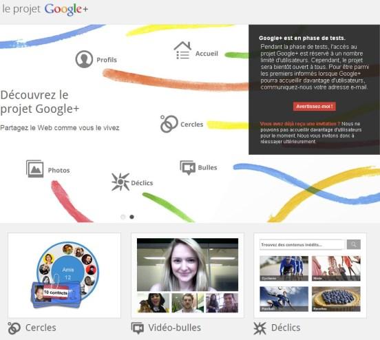 Google+ est encore en phase de test