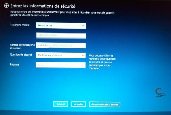 Windows 8 infos de sécurité