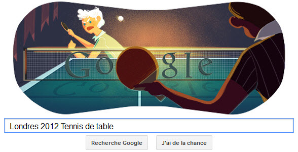 #Londres2012 - Google met à l'honneur le Tennis de table