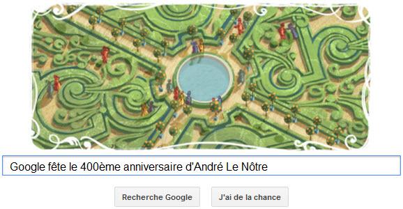 Google fête le 400ème anniversaire d'André Le Nôtre
