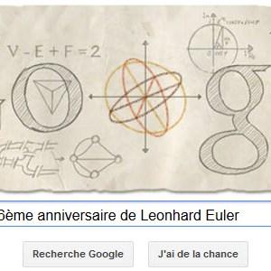 Google fête le 306ème anniversaire de Leonhard Euler [Doodle]