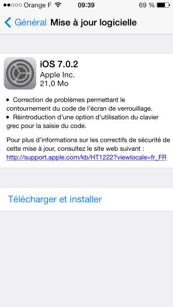 L'iOS 7.0.2 est disponible au téléchargement [liens directs]