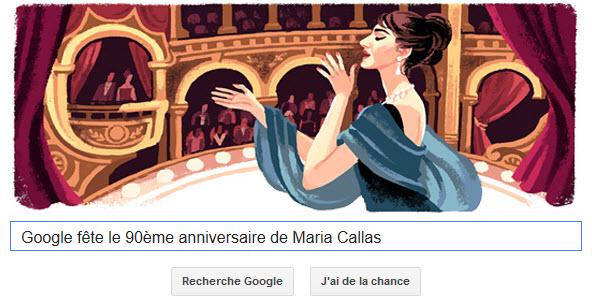 Google fête le 90ème anniversaire de Maria Callas [Doodle]