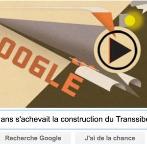 Google : Il y a 100 ans s'achevait la construction du Transsibérien [#Doodle]
