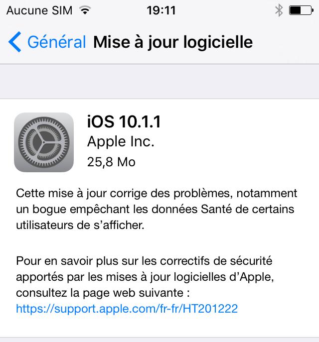 L'iOS 10.1.1 est disponible au téléchargement [liens directs]