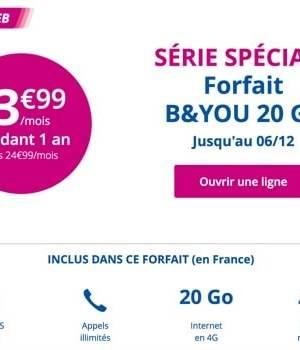 Le forfait B&You de 20Go bradé à 3,99€/mois
