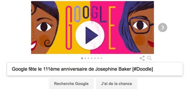 Google fête le 111ème anniversaire de Josephine Baker [#Doodle]