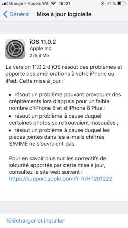 L'iOS 11.0.2 est disponible au téléchargement [liens directs]