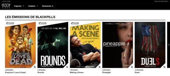 Certaines séries Blackpills sont disponibles sur VICE Video