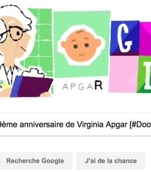 Google fête le 109ème anniversaire de Virginia Apgar [#Doodle]