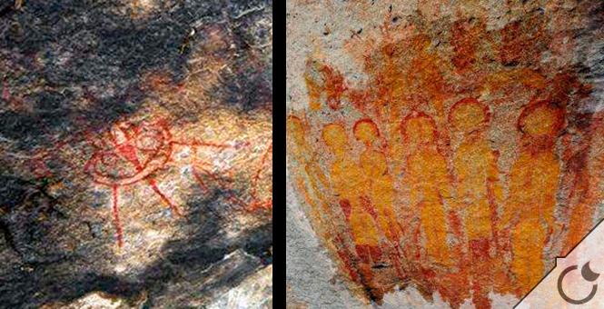 Resultado de imagen de Hallan en la India pinturas rupestres de hace 10.000 años que retratan «ovnis» y «alienígenas»