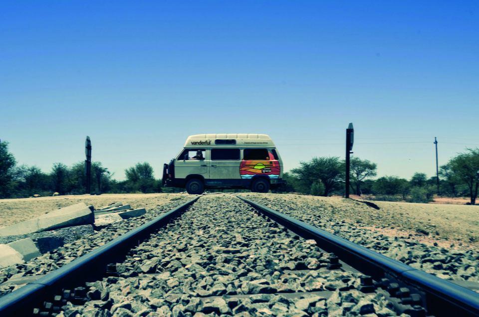 The van on train tracks in Namibia