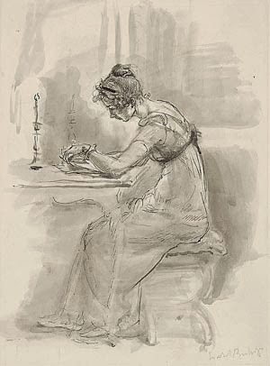 Lizzy reading Jane's letter, di Isabel Bishop
