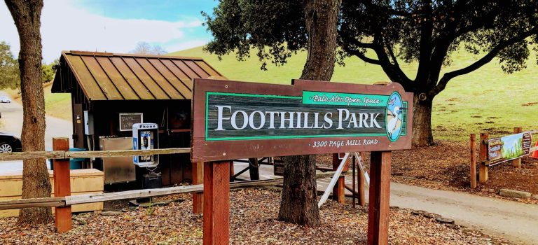 Sign for Foothills Park at the park's entrance.