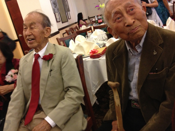 Milton Quon's 100th Birthday celebration. Milton (left) and Tyrus