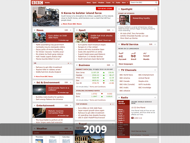 BBC Website in 2009
