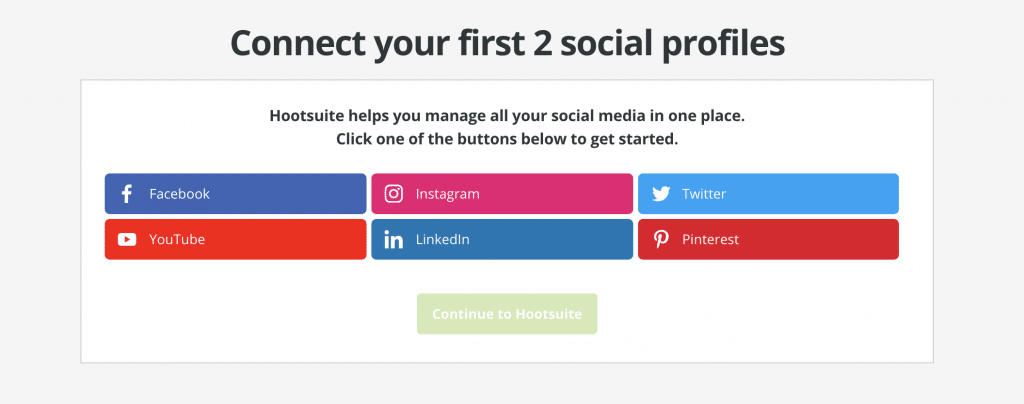 hootsuite connect social media profiles