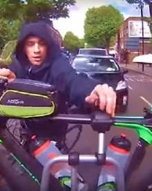 A cyclist is captured trying to steal a racing bike in central London