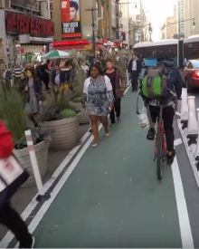 """Cyclist vs NYC's 8th Avenue """"Protected"""" Bike Lane Zombies"""
