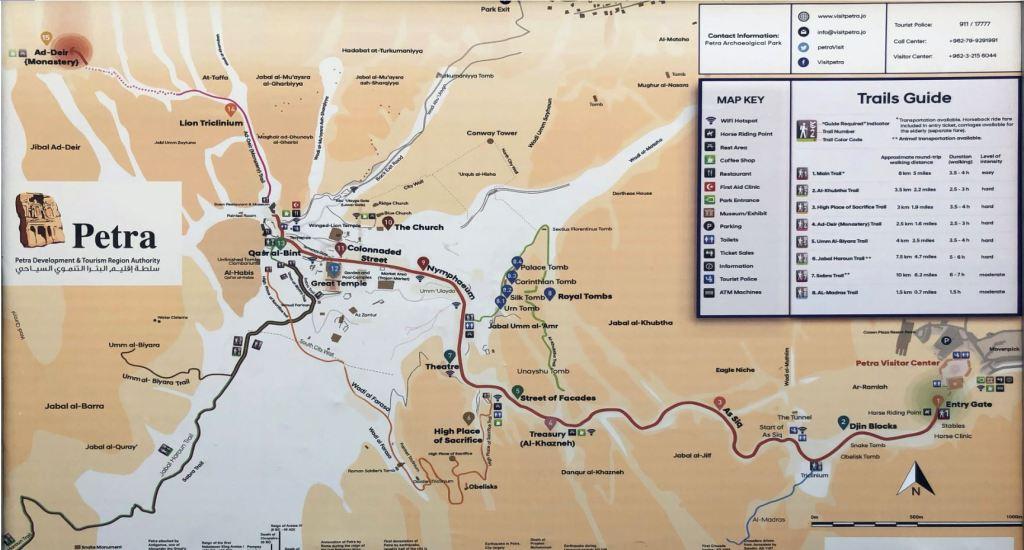 Mappa di Petra e dei sentieri